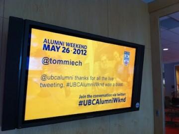 Digital Signage at UBC Alumni Weekend 2012